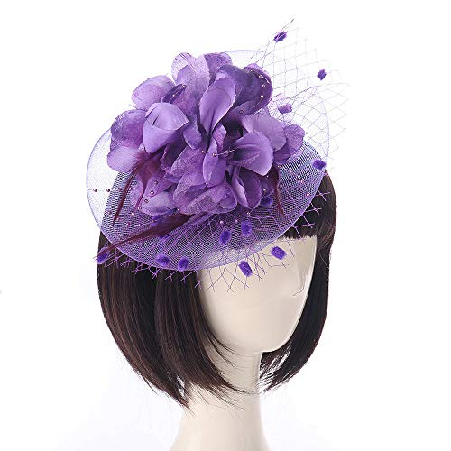 (Feather Topper Bridal Wedding Headpiece Party Hairpin Headband Hair Accessories Mesh Hat Ribbon Hair Clip)