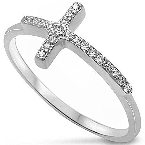 Hot Trend Sideways Cross Cubic Zirconia .925 Sterling Silver Ring Size 6