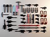 gun swords - Lot of 40 Weapons Accessories for Lego Mini Figures. New!! Military Satchel Knife Swords Guns