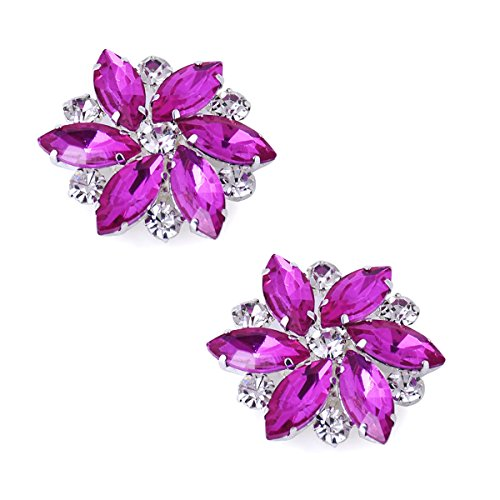 (ElegantPark AJ Shoes Dress Hat Accessories Fashion Rhinestones Crystal Shoe Clips 2 Pcs Hot Pink)