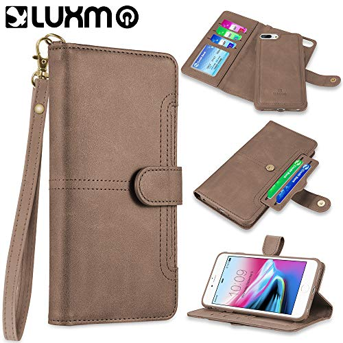 LUXMO The NAPA Collection Leather Detachable Wallet CASE with ID Windows and Extra Card Slots for iPhone 8/7 / 6 Plus - Brown