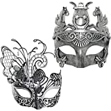 Silver/Black Flying Butterfly Women Mask & Silver Roman Warrior Men Mask Venetian Couple Masks for Masquerade/Party/Ball Prom/Mardi Gras/Wedding/Wall Decoration