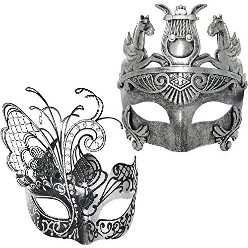Silver/Black Flying Butterfly Women Mask & Silver Roman Warrior Men Mask Venetian Couple Masks for Masquerade/Party/Ball Prom/Mardi Gras/Wedding/Wall Decoration]()