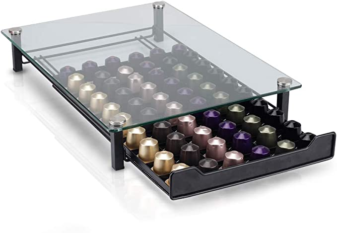RECAPS Coffee Pod Holder Storage Drawer Compatible with Nespresso Coffee Capsules Kitchen Organizer Black Holds 60 Capsules