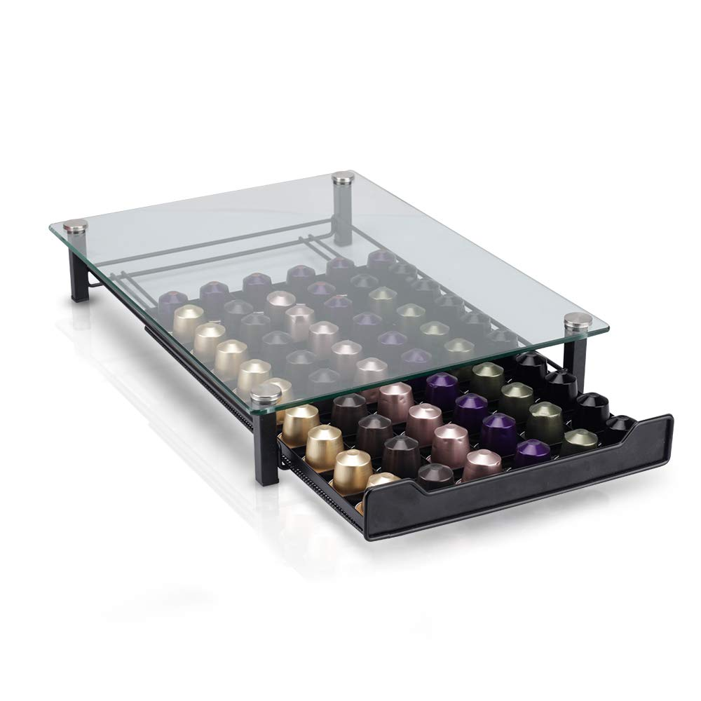 RECAPS Coffee Pod Holder Storage Drawer Compatible with Nespresso Coffee Capsules Kitchen Organizer Black Holds 60 Capsules by RECAPS