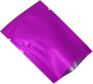 200 Pieces Aluminum Foil Smell Proof Pouch Heat Seal Open Top Flat Vacuum Packaging Mylar Bag Food Small Sample Mini Mylar Storage with Tear Notch (Purple, 5x7cm(1.9x2.7 inch))