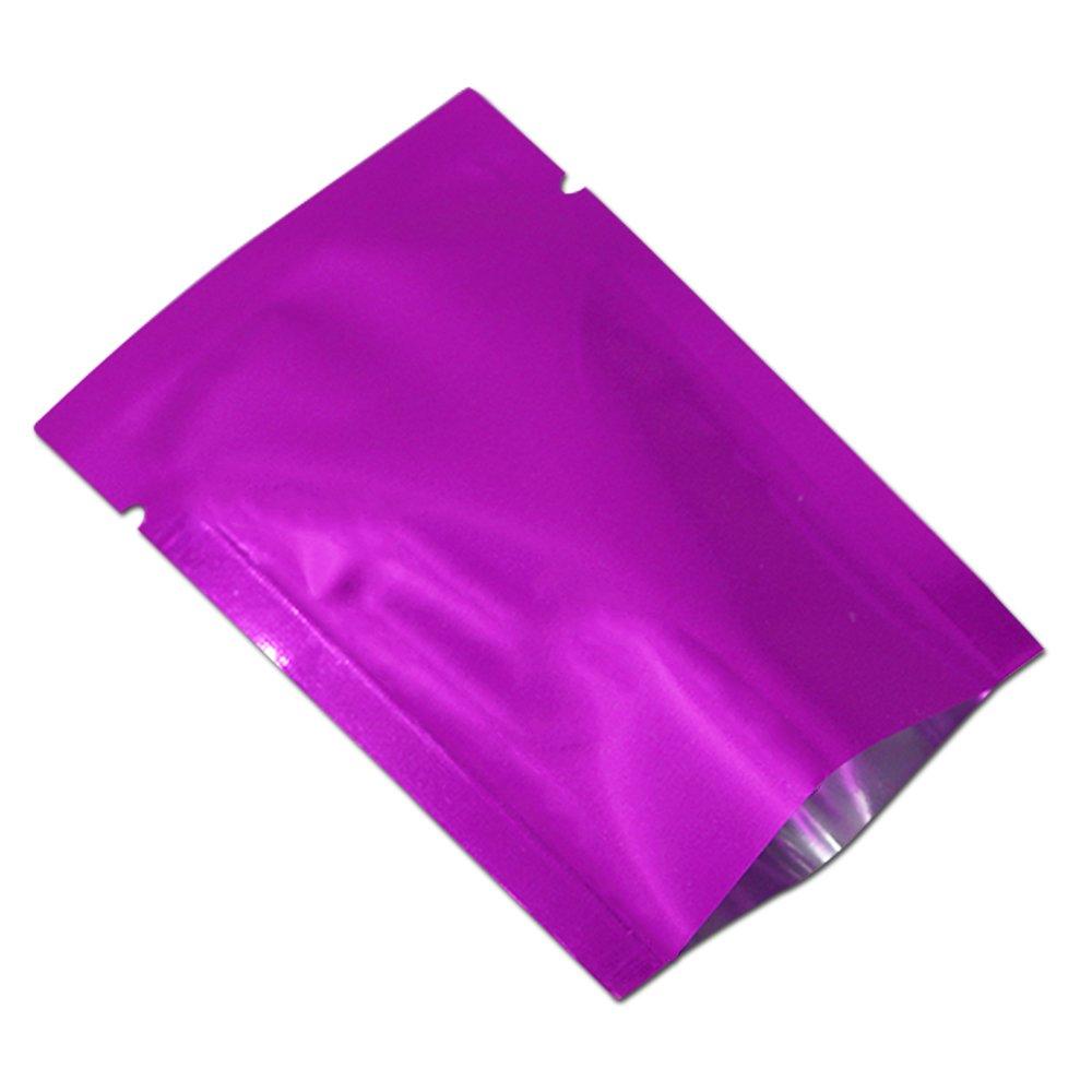 Purple Mylar Bag Smell Proof Aluminum Foil Long Term Food Storage Bags Flat Open Top Heat Vacuum Seal Tea Bath Salt Candy Packaging Pouch with Tear Notches (800, 3.9x5.9 inch (10x15cm))