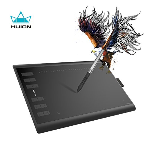 Huion Battery Free Tablet H1060P 10 x 6.25 inch Graphic Drawing Tablet with Tilt Function 8192 Levels Pressure 12 Express Keys by Huion