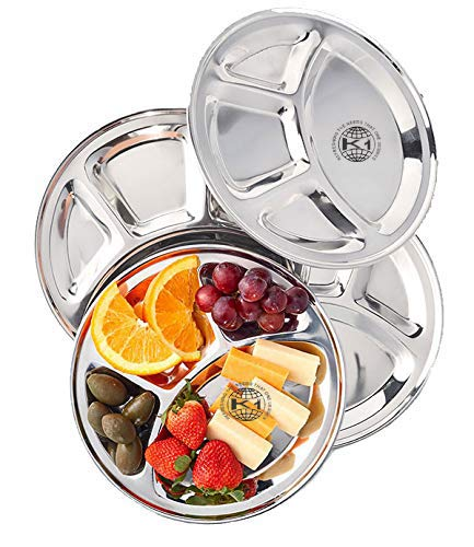 (King International 100% Stainless Steel Four in one Dinner Plate Four sections divided plate Four section plate -Set of 4 Mess Trays Great for Camping, 30 cm)
