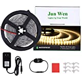 JUNWEN 16.4ft LED Light Strip Kit Waterproof 3000K Strip Lights 300 Units SMD 2835 Rope Lights 12V LED Tape Ribbon with Power Supply for Home Kitchen Bar Clubs (Warm White)