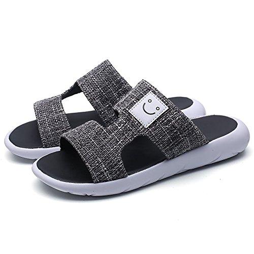 Lleather Decorati para Zapatillas Suela Negro Playa Hebillas Antideslizantes 2018 con Sandalias Hombre Sandalias con auténtica de 4P6naqnw