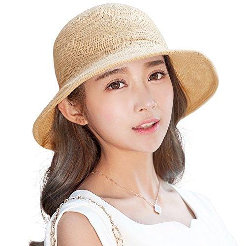 Siggi Womens Packable Straw Sun Hat Camel Wide Brim Summer Breathable UPF