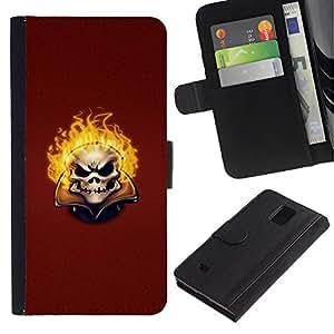 A-type (Flaming Evil Skull) Colorida Impresión Funda Cuero Monedero Caja Bolsa Cubierta Caja Piel Card Slots Para Samsung Galaxy Note 4 IV