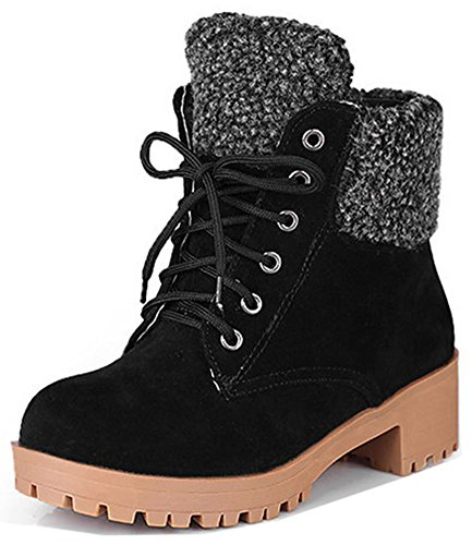 Easemax Women's Chic Lace Up Round Toe Faux Suede Mid Chunky Heeled Martin Short Ankle Boots Black rhPKIsD97E