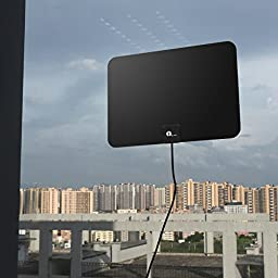 1byone 50 Mile Range Amplified HDTV Antenna, with Detachable Amplifier Singnal Booster for the Highest Performance and 10 Feet Coaxial Cable