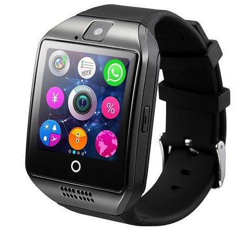 Smart Watch Q18 Activity Tracker Bluetooth Touchscreen Support Tf Sim Card Slot With Camera For Ios Iphone Android Samsung Wearable Equipment Shfy  Black