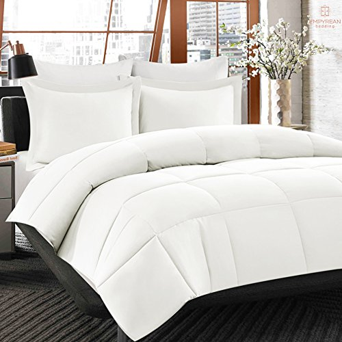 Comforter Down Alternative Super Cozy Plush Duvet Insert - Queen Size, White - Special Corner Tabs + Box Stitching to Avoid Shifting - Hypoallergenic, Machine Washable, Wrinkle-Free