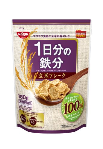 Nisshin Cisco one day of iron brown rice flakes 180g ~ 6 bags by Nissin Cisco