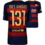 Lionel Messi, Neymar, Luis Suarez Barcelona Autographed Tres Amigos Jersey - Fanatics Authentic Certified