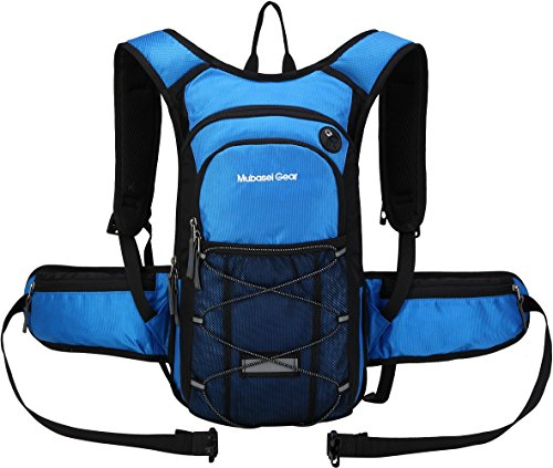 Insulated Hydration Backpack with 2L BPA FREE Bladder - Keeps Liquid Cool up to 5 Hours  Waterproof pack for Running, Hiking, Cycling, Camping (Blue - With Waist Pack)