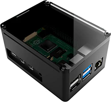 anidees Raspberry Pi 3 //Pi3 B+Fully Aluminium Unibody Design case Extra Height with Smoky Acrylic top lid Black AI-PI-BB-H