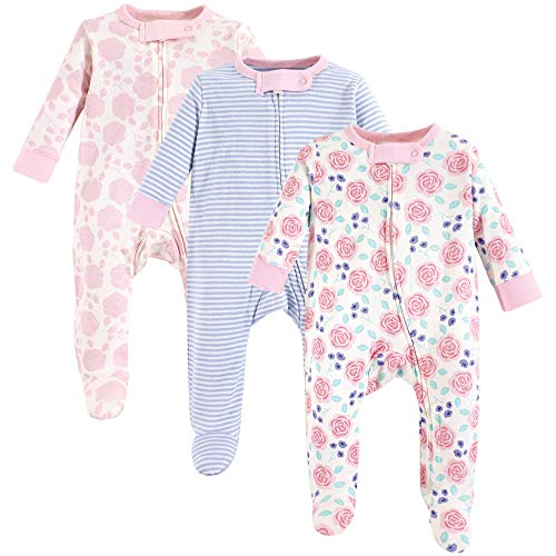 Touched by Nature Unisex Baby Organic Cotton Sleep and Play, Pink Rose 3-Pack, 3-6 Months (6M)