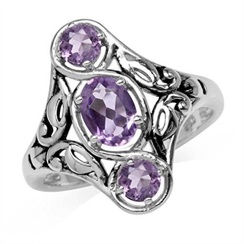 1.24ct. 3-Stone Natural Amethyst 925 Sterling Silver Filigree Ring Size 6