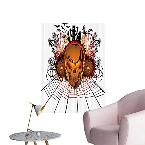 Wall Stickers for Living Room Kull ce Bfire Effect Spirits of Other World Ccept Bats and Spider Web Halloween Vinyl Wall Stickers Print,28