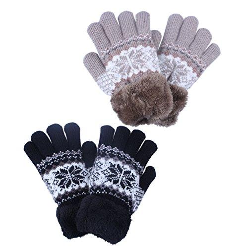 2Pairs Black Khaki Girls Warm Winter Gloves Mittens Fleece Lining Snowflake Design Blue Color