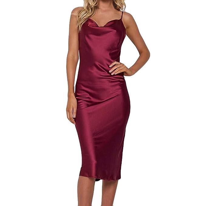 ... Sexy V-Collo Apri Indietro Vestito-Vestiti Corti Eleganti Vestito Lungo  Cerimonia Abito Lunghi Vestiti da Pizzo Capodanno  Amazon.it  Abbigliamento 05dc2471e34