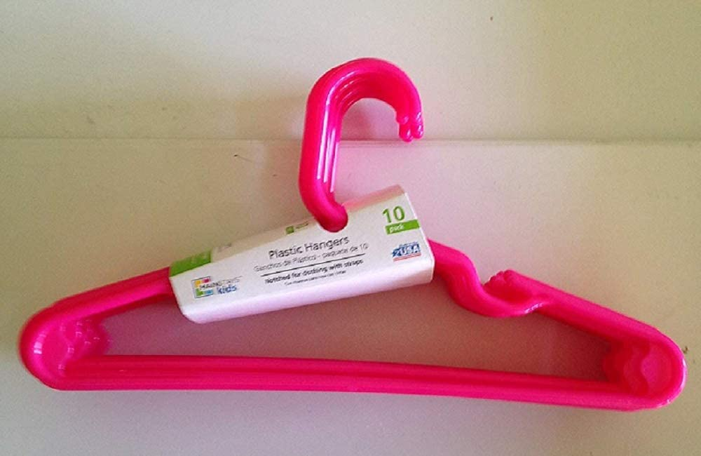 Mainstay Childrens Hangers 10 Count with Hooks 1 Pack of 10, Pink