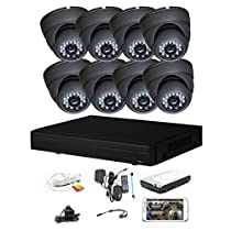 iPower Security SCCVIC0003-1T 8 Channel 1TB HDD HD-CVI HDCVI 1080P DVR Security Surveillance System with 8 Dome Fixed Lens 2MP Cameras (Grey)
