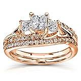 Kyпить Princess Cut Diamond Bridal Set Ring 1 1/10 Carat (ctw) in 14k Gold, Size 10, Rose Gold на Amazon.com