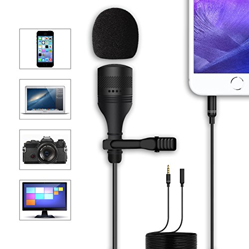 evel Lavalier Microphone, Crystal Clear Lapel Mic for iPhone, Smartphone/ DSLR Camera/ Laptop, PC Computer/ Recorder - Noise Canceling (Camera Assistant Pouch)