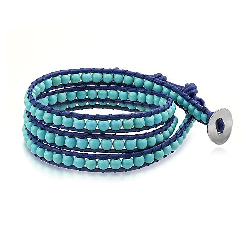(Bling Jewelry Boho Stabilized Turquoise Bead Genuine Navy Blue Leather Strand Triple Wrap Bracelet for Women Teen for Men)