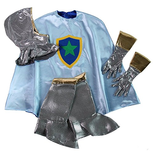 Boys Knight Cape, Hood & Gloves Dress up Accessory Costume Set (6/8, Blue/Gray & (Valiant Knight Child Costumes)