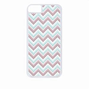 Red and Blue Polka Dot Chevrons- Case for the Apple Iphone 5-5s Universal-Hard White Plastic Outer Shell with Inner Soft Black Rubber Lining