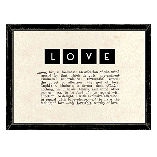 East Of India Vintage Style Love Picture With Dictionary Extract