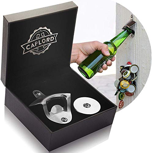 Bottle Opener Wall Mounted with Magnetic Cap Catcher - Unique Beer Lovers Gifts for Men - Great Birthday Gifts for Dad, Boyfriend, Mens Gifts Ideas for Bday, Present for Father's Day, Valentine's Day