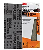 "3M 03064 Trizact 3-2/3"" x 9"" 3000 Grit Performance Sandpaper"