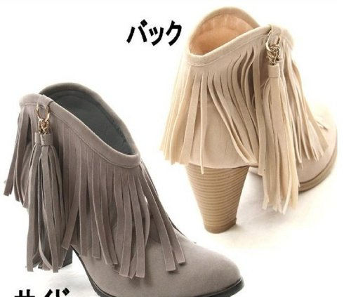 Charm Foot Vintage Womens High Heel Ankle Boots Fringed Boots Beige leWBci7lax