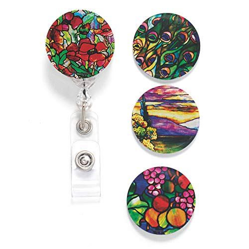 Buttonsmith Tiffany Poppies Tinker Reel Retractable Badge Reel - with Alligator Clip and Extra-Long 36 inch Standard Duty Cord - Made in The USA