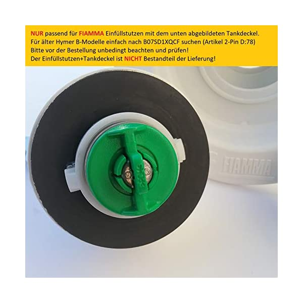 51UPPrgmLLL Wohnmobil Wassertankdeckel Tankdeckel Wassertankadapter mit Gardena Anschluss für Fiamma Einfüllstutzen (Typ 2-Pin D:65)
