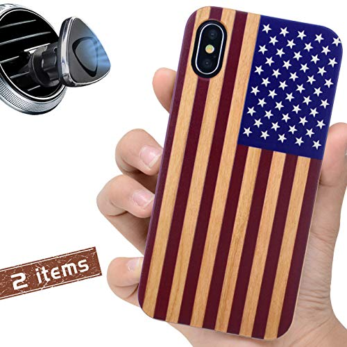 iProductsUS Wood Phone Case Compatible with iPhone Xs, X(10) and Magnetic Mount-3D UV Printed American Flag,Built-in Metal Plate, Compatible Wireless Charger, TPU Protective Shockproof Covers (5.8