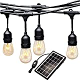 Ashialight LED Outdoor Solar String Lights - 10 Lights 42 Ft, Hanging Sockets, Vintage Edison S14 LED Bulb- Commercial Garde Bistro Lights for Garden,Yard, Cafe, Porch, Deck, Party and Patio-4pcs