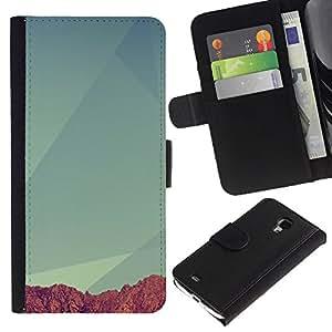 YiPhone /// Tirón de la caja Cartera de cuero con ranuras para tarjetas - Geometría Montaña - Samsung Galaxy S4 Mini i9190