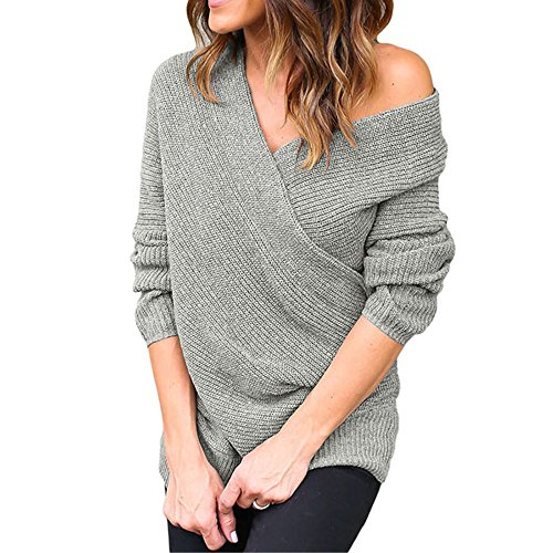 Eiffel Women's Wrap Front V Neck Ribbed Cable Pullover Sweater Top Tunic Grey
