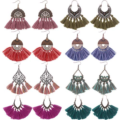 Udekit Fashion Vintage Earring Set with Dangle Thread Tassel Pendant for Women Lady Girls