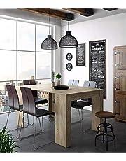 Home Innovation - Table Console Extensible, rectangulaire avec rallonges, jusqu'à 140 cm, pour Salle à Manger et séjour, Couleur chêne Clair brossé. Jusqu´à 6 Personnes.