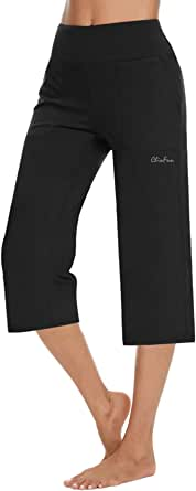 ChinFun Women's High Waisted Yoga Pants Workout Tummy Control Lounge Capri Pants with Wide Leg and 3 Pockets